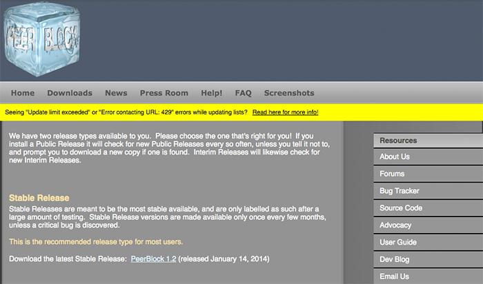 Peerblock IP blocker